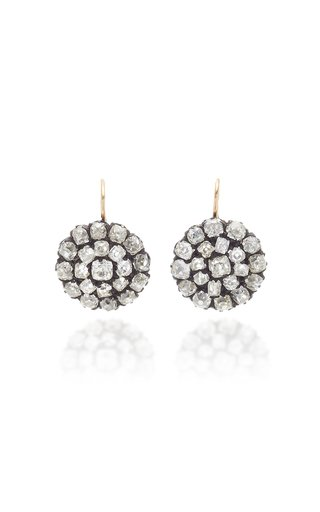 14K Gold, Silver And Diamond Earrings