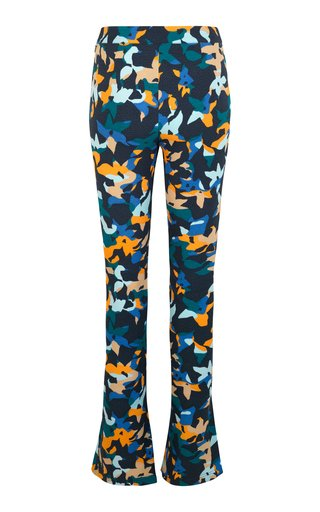 Nolan Printed Stretch-Crepe Flare Pants