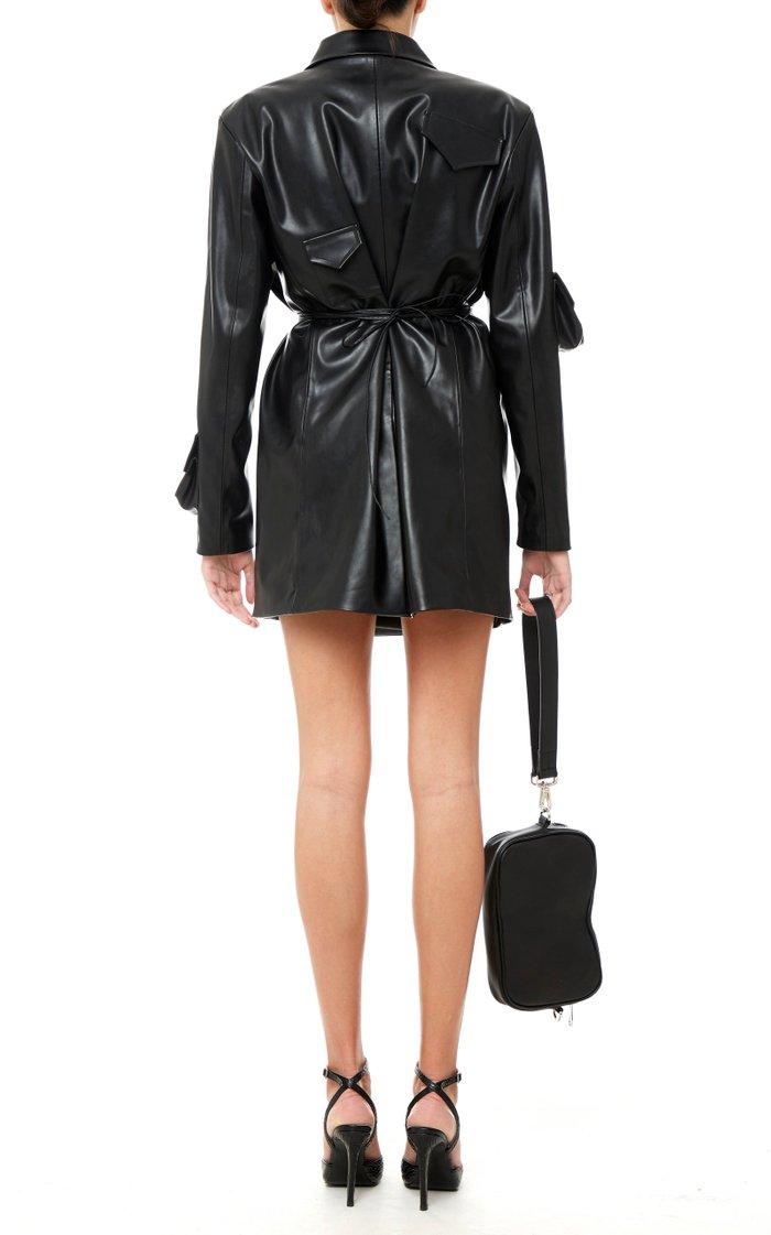 Wrapped Faux Leather Blazer Dress