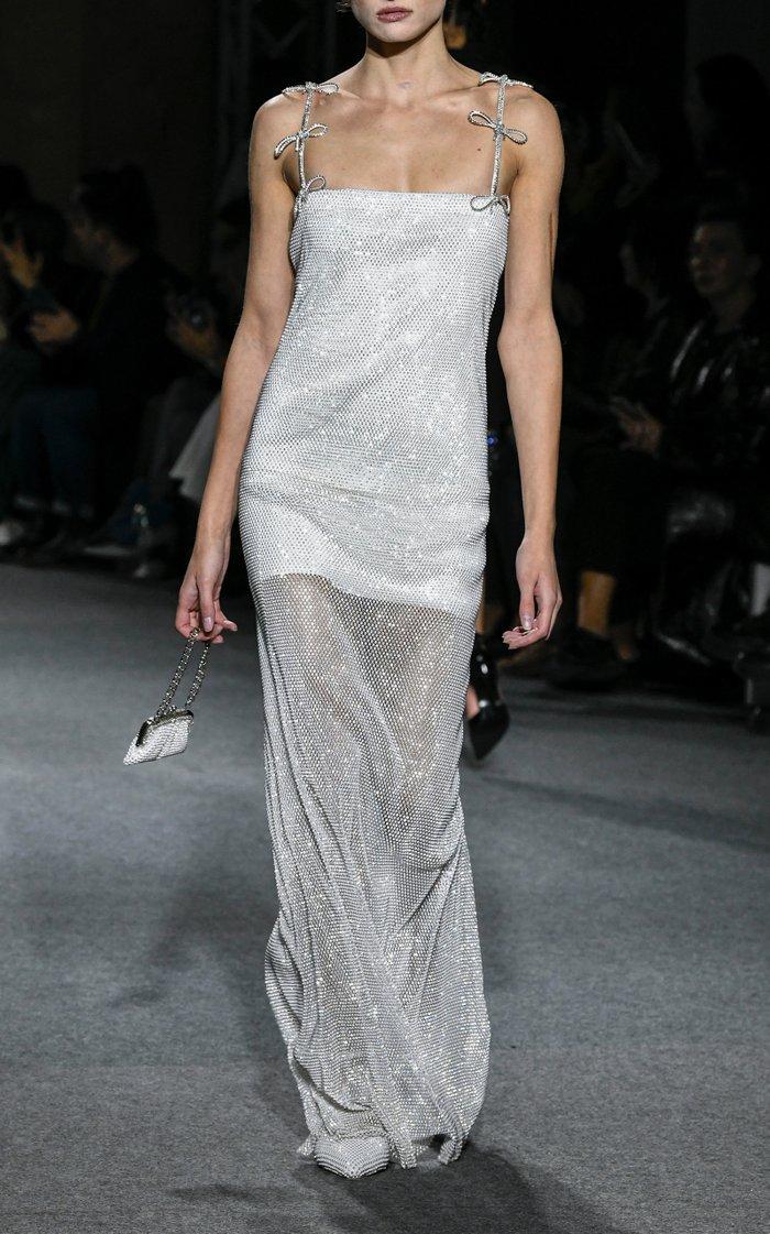 Crystallized Mesh Maxi Dress