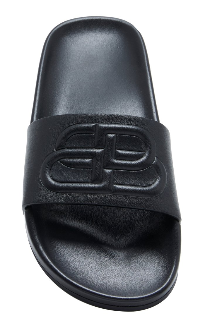 Logo-Embossed Leather Slides