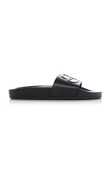 Logo-Embossed Leather Slides