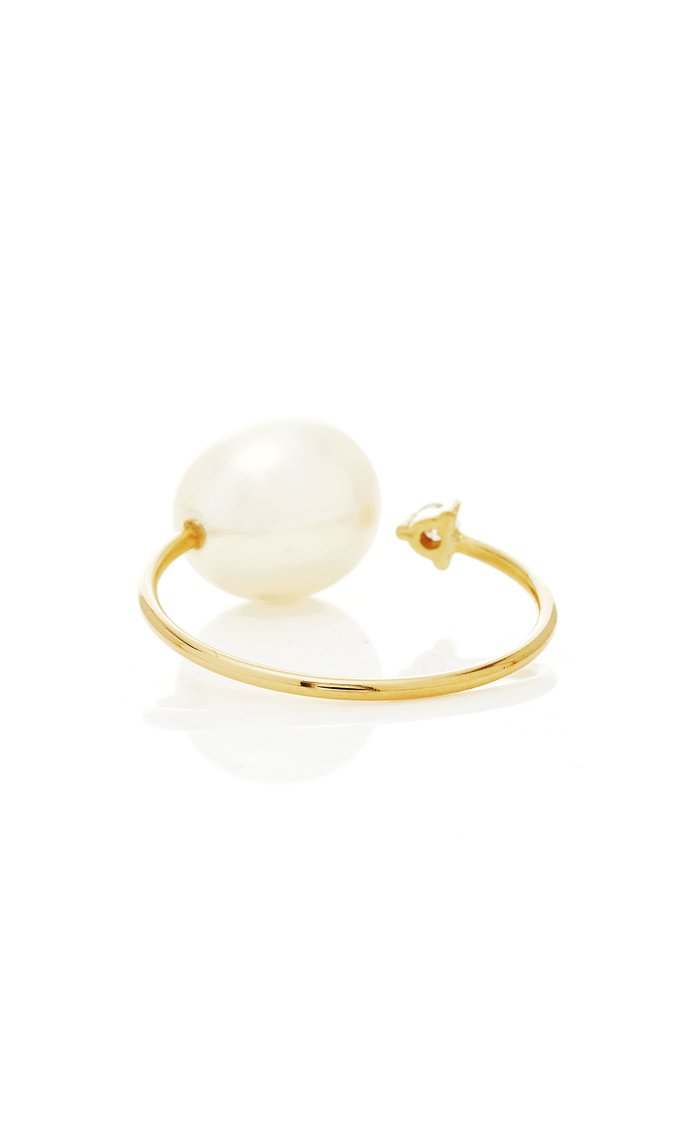 Large Open Pearl & Diamond Ring