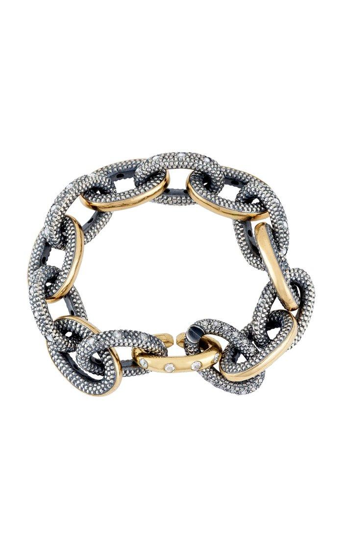 18K Gold, Blackened Silver And Diamond Bracelet