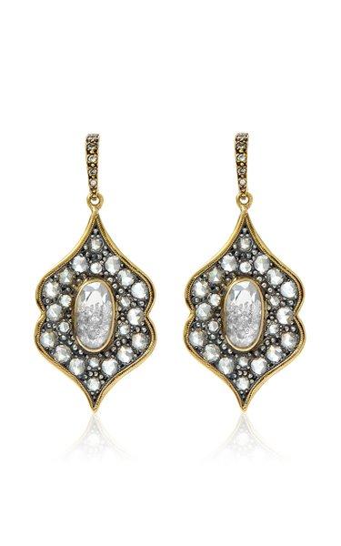 18K Gold, Blackened Silver And Diamond Earrings