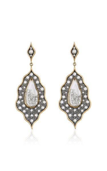 18K Gold, Blackened Silver, Diamond And Sapphire Earrings