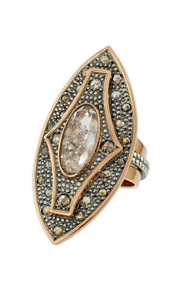 18K Rose Gold, Blackened Silver, Diamond And Sapphire Ring