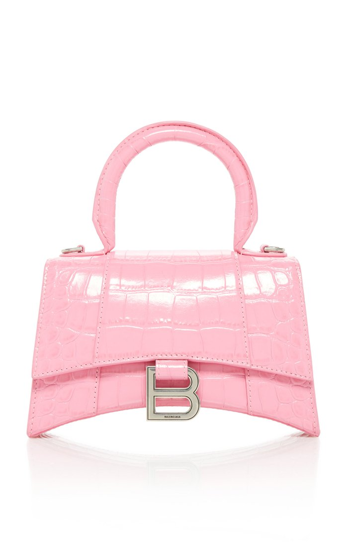 Hourglass Small Croc-Effect Leather Top Handle Bag