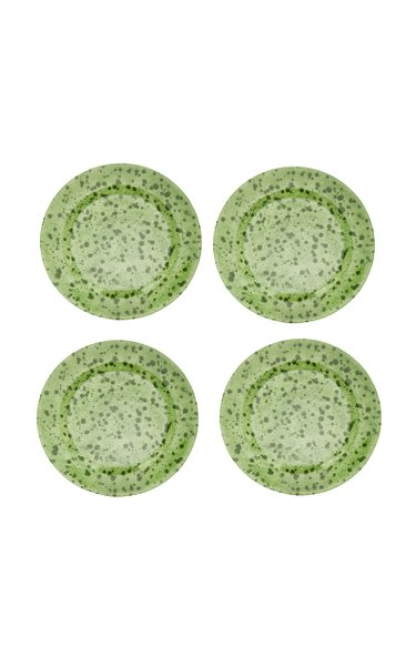 Set-Of-Four Painted Ceramic Dessert Plates
