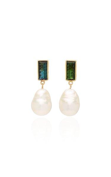 Disco 18K Gold, Pearl And Tourmaline Earrings