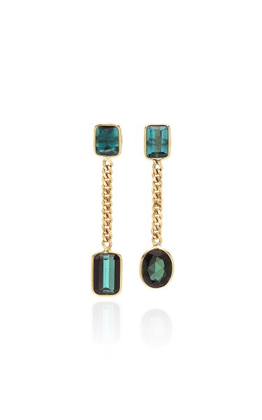 Curb 18K Gold And Tourmaline Earrings