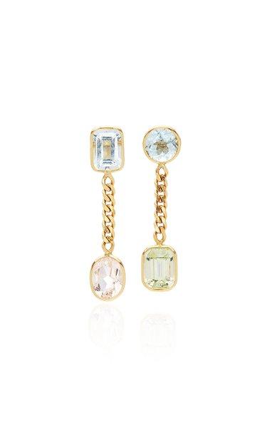 Curb 18K Gold, Aquamarine And Morganite Earrings