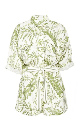 Empire Printed Cotton Utility Romper