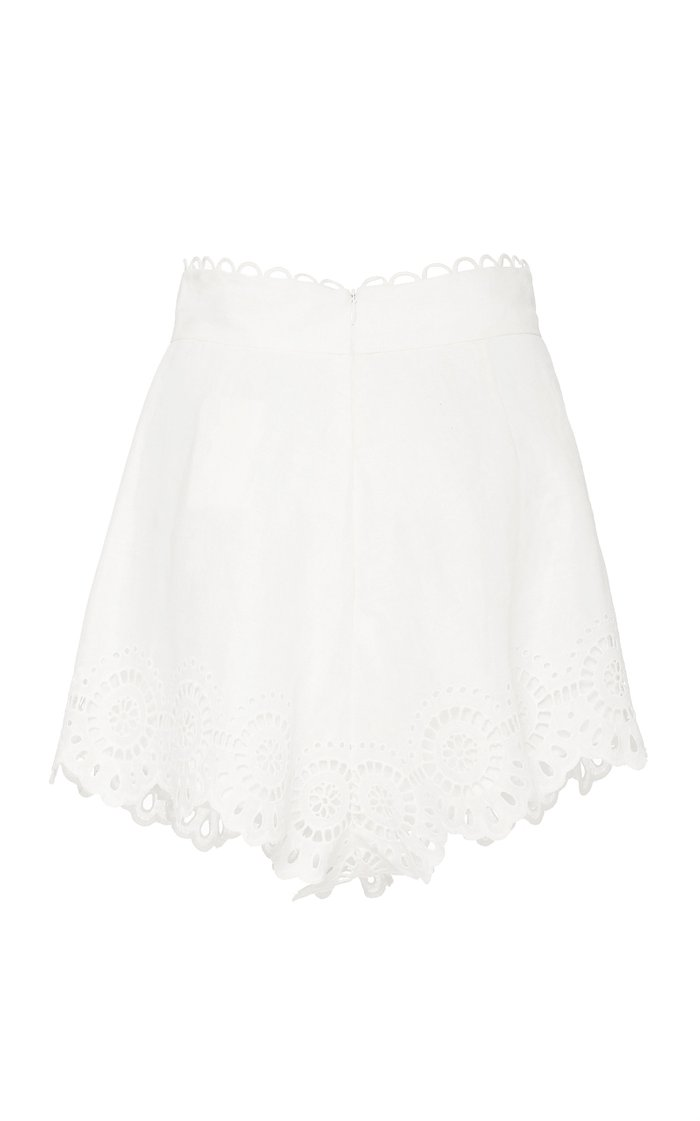 Bellitude Pleated Broderie Anglaise Linen Shorts