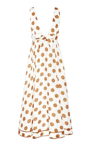 Empire Tie-Detailed Polka-Dot Cotton Maxi Dress