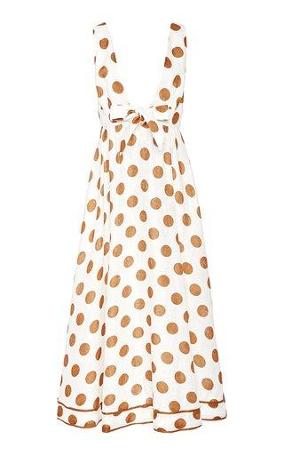 Empire Tie-Detailed Polka-Dot Cotton Maxi Dress