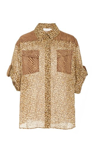 Empire Animal-Print Georgette Shirt
