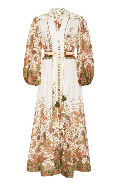 Empire Belted Printed Linen Maxi Dress