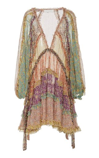 Carnaby Tiered Floral Silk Mini Dress