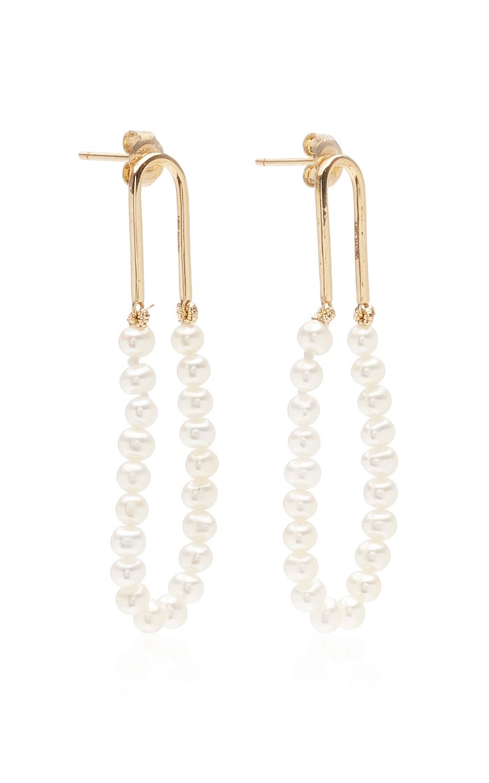 14K Yellow Gold Pearl Track Earring