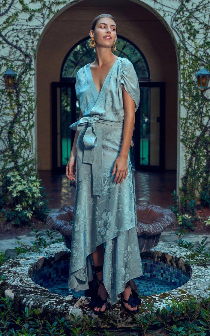 Exclusive Protea Draped Floral Jacquard Maxi Dress