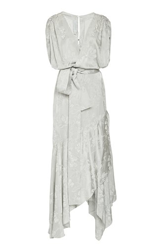 Exclusive Protea Draped Floral Jacquard Maxi Dress