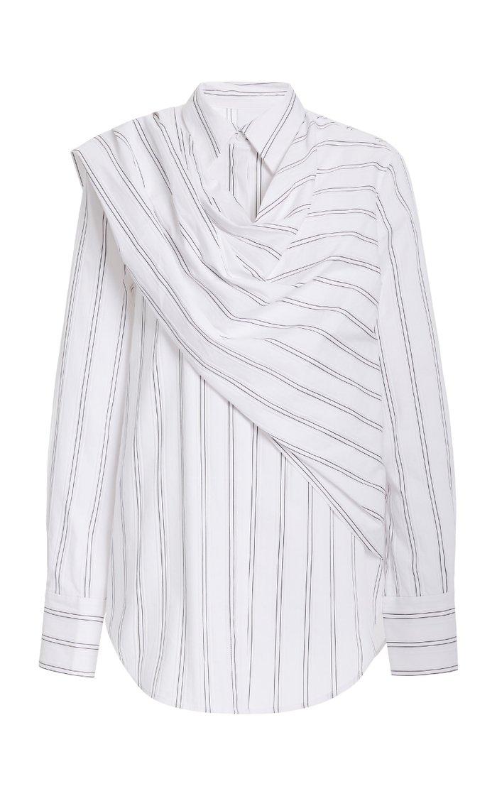 Bradey Striped Jersey Wrap Shirt