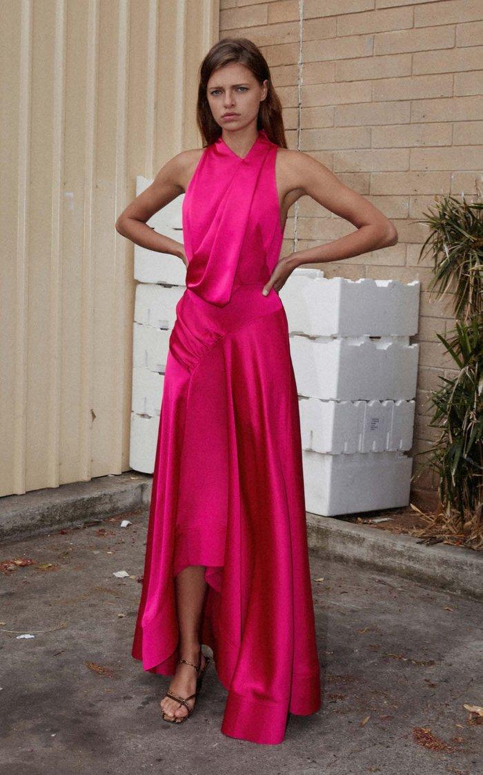 Palmera Asymmetric Satin Cocktail Gown