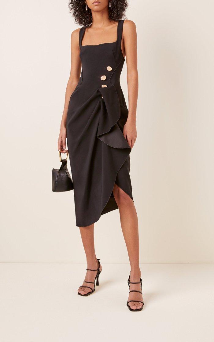 Thistle Gathered Crepe Midi Dress