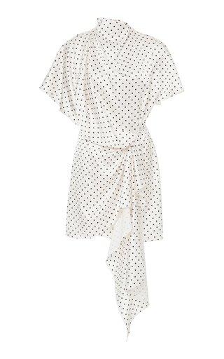 Lochner Polka-Dot Draped Satin Mini Dress