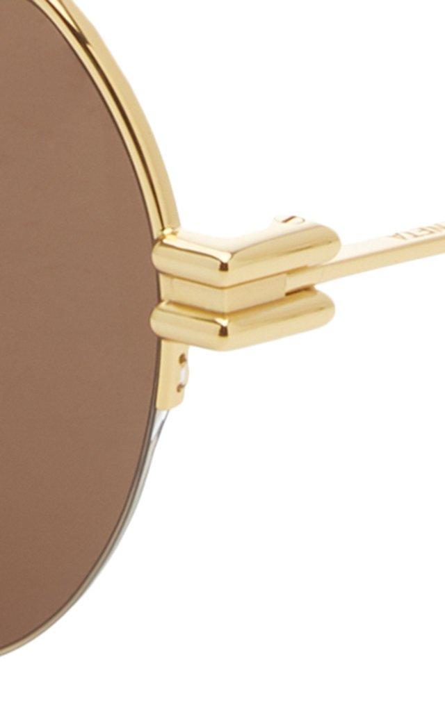 Oversized Aviator Gold-Tone Sunglasses