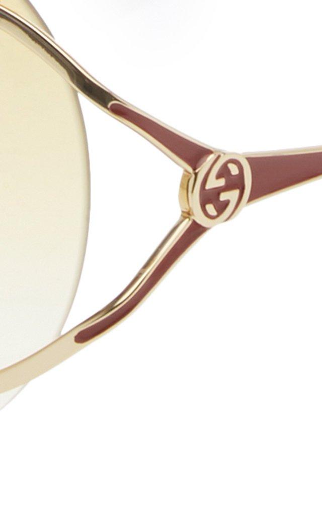 Rimless Round-Frame Metal Sunglasses