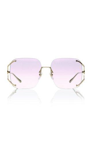 Rimless Square-Frame Metal Sunglasses