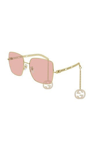 Chain-Detailed Square-Frame Sunglasses