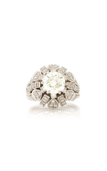 Vintage 18K White Gold and Diamond Ring
