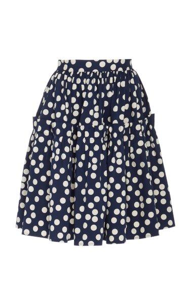 Polka-Dot Print Ruffled Cotton Skirt