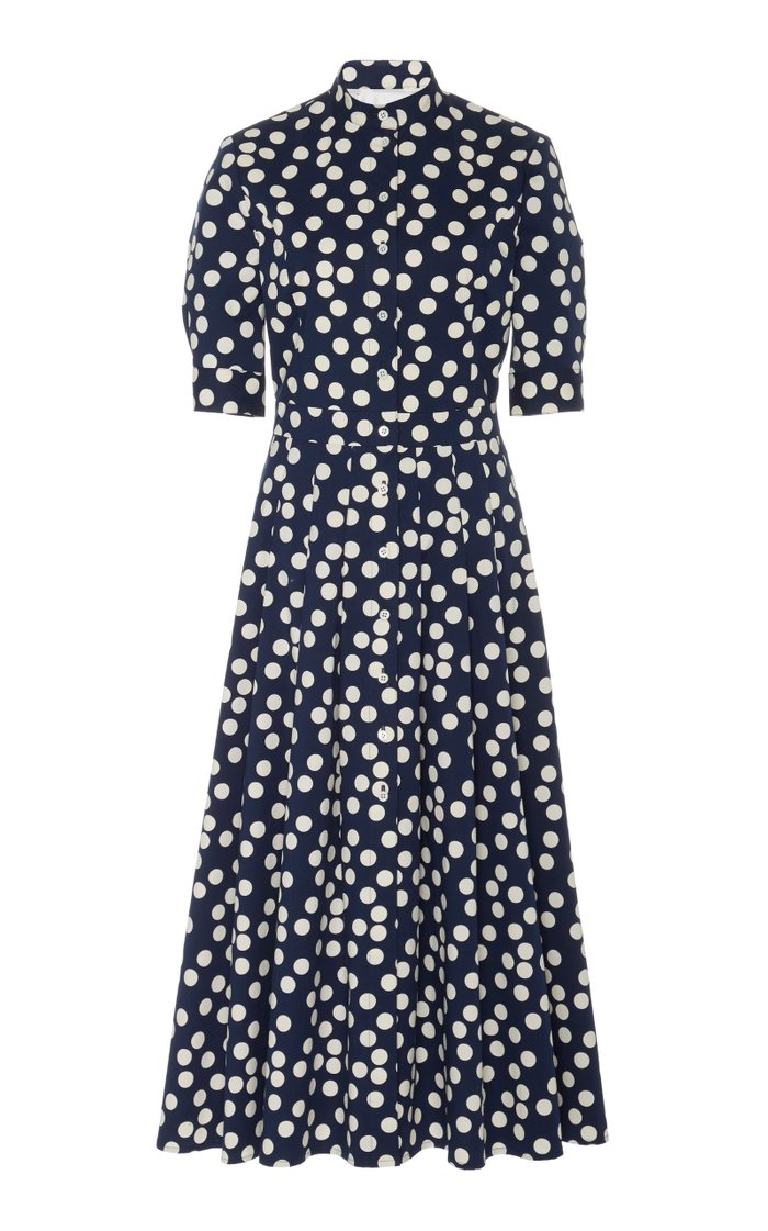 Polka-Dot High-Neck Cotton-Blend Dress