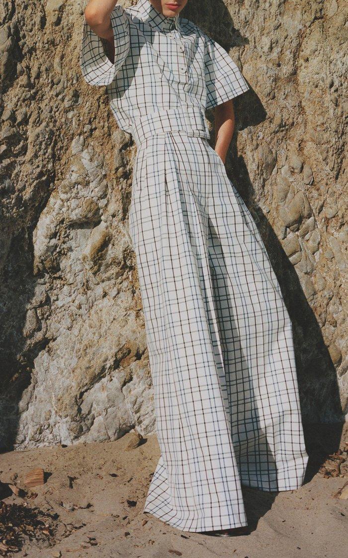 Printed Wide-Leg Cotton-Blend Pants