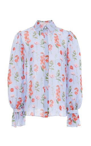 Printed Silk Button-Down Shirt