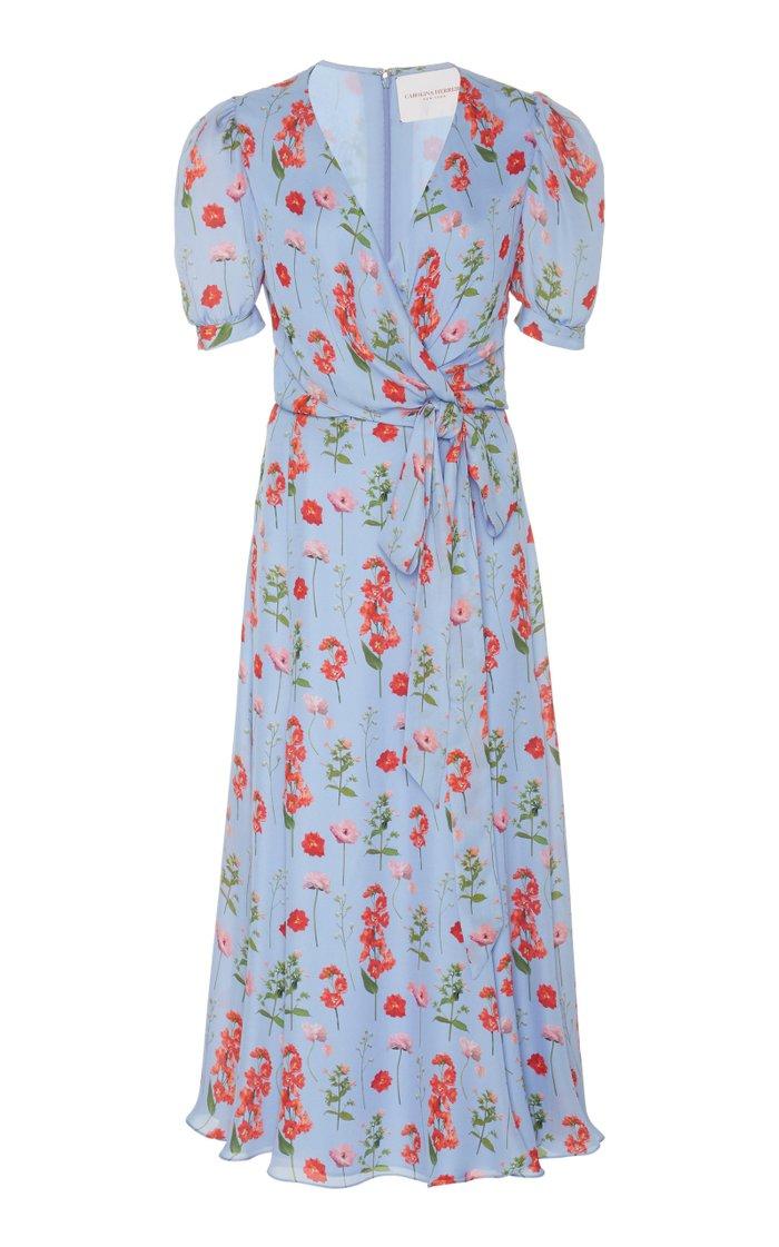 Printed Silk Wrap Dress