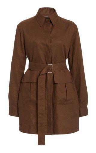 Belted Linen Mini Dress