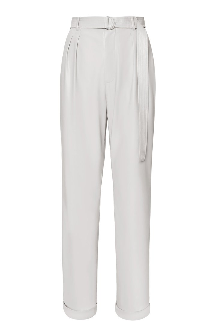 Pleated Belted Faux Leather Tapered Pants