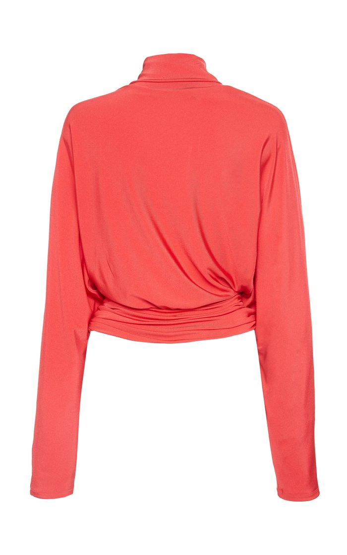 Slinky Jersey Turtleneck Rouched Waist Top