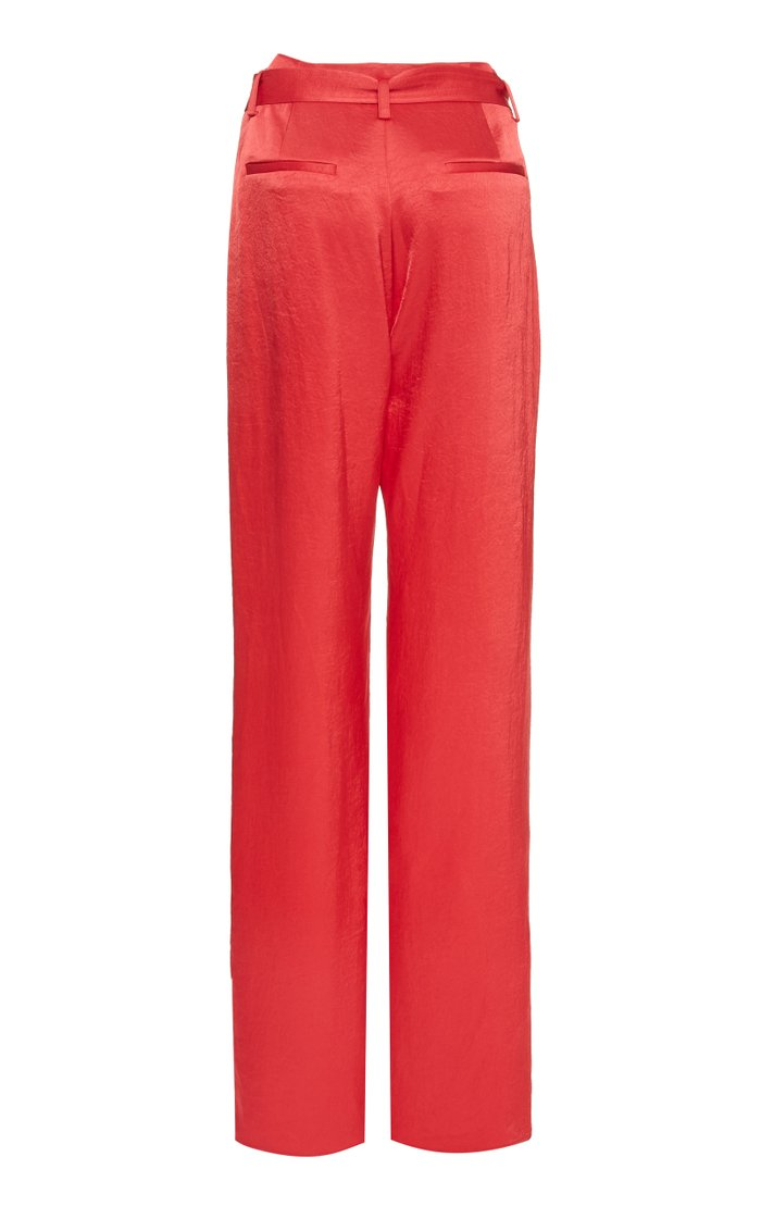 Stretch Crinkle Satin High Waisted Belted Pant