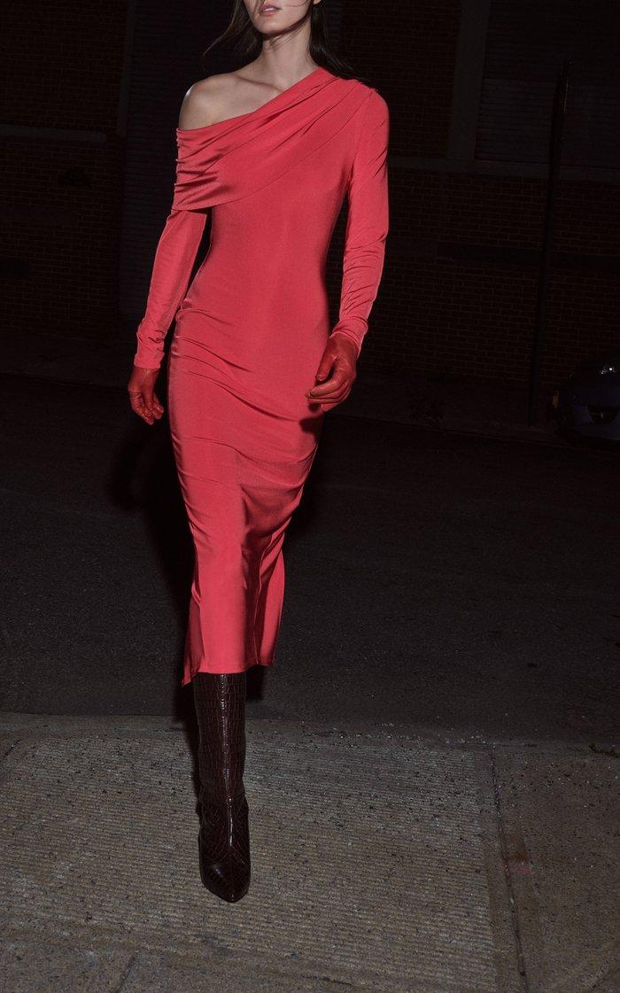 Off-The-Shoulder Draped Jersey Midi Dress