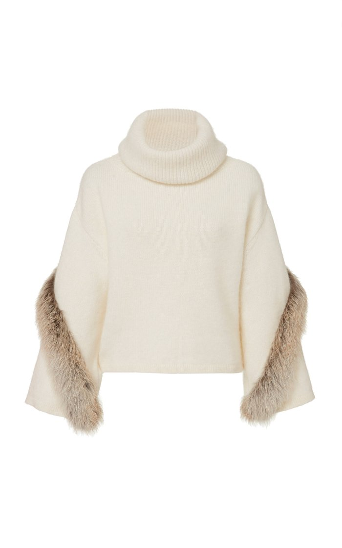 Airy Wool Cashmere  Cowl Neck Bell Sleeve Sweater With Fox Fur