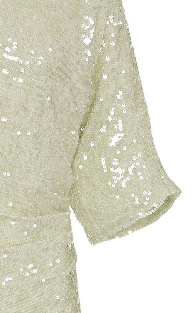 Sequin Viscose Short Sleeve Draped Waist Dolman Midi Dress