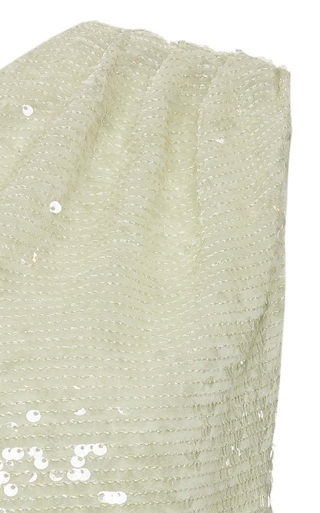 One-Shoulder Sequined Georgette Top