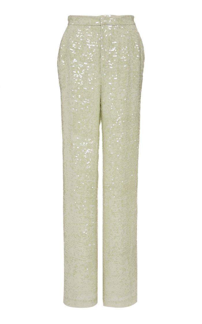 Sequined Crepe Straight-Leg Pants
