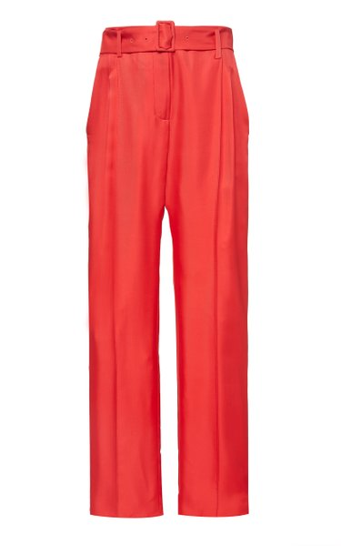 Belted Silk-Satin Straight-Leg Pants